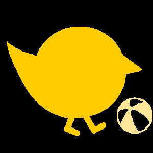gelbes Küken mit Ball