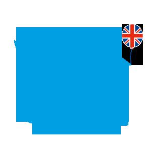 blaues Kueken mit Union Jack und Skateboard