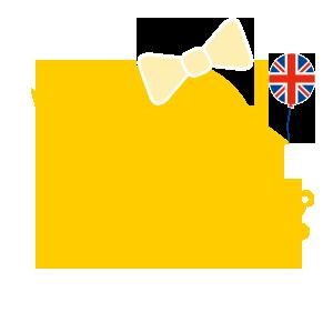gelbes Kueken mit Schleife, Union Jack und Teddybaer