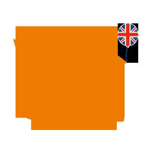 orangenes Kueken mit Union Jack und Skateboard
