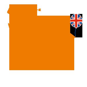 orangenes Kueken mit Union Jack, Schleife und Drachen