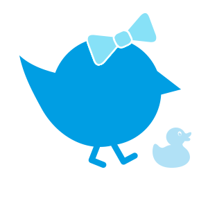 blaues Kueken mit Schleife und Ente