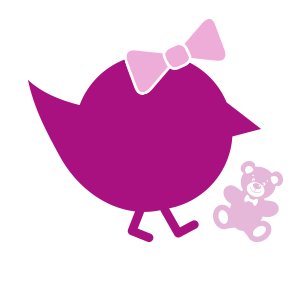 lila Kueken mit Schleife und Teddybaer